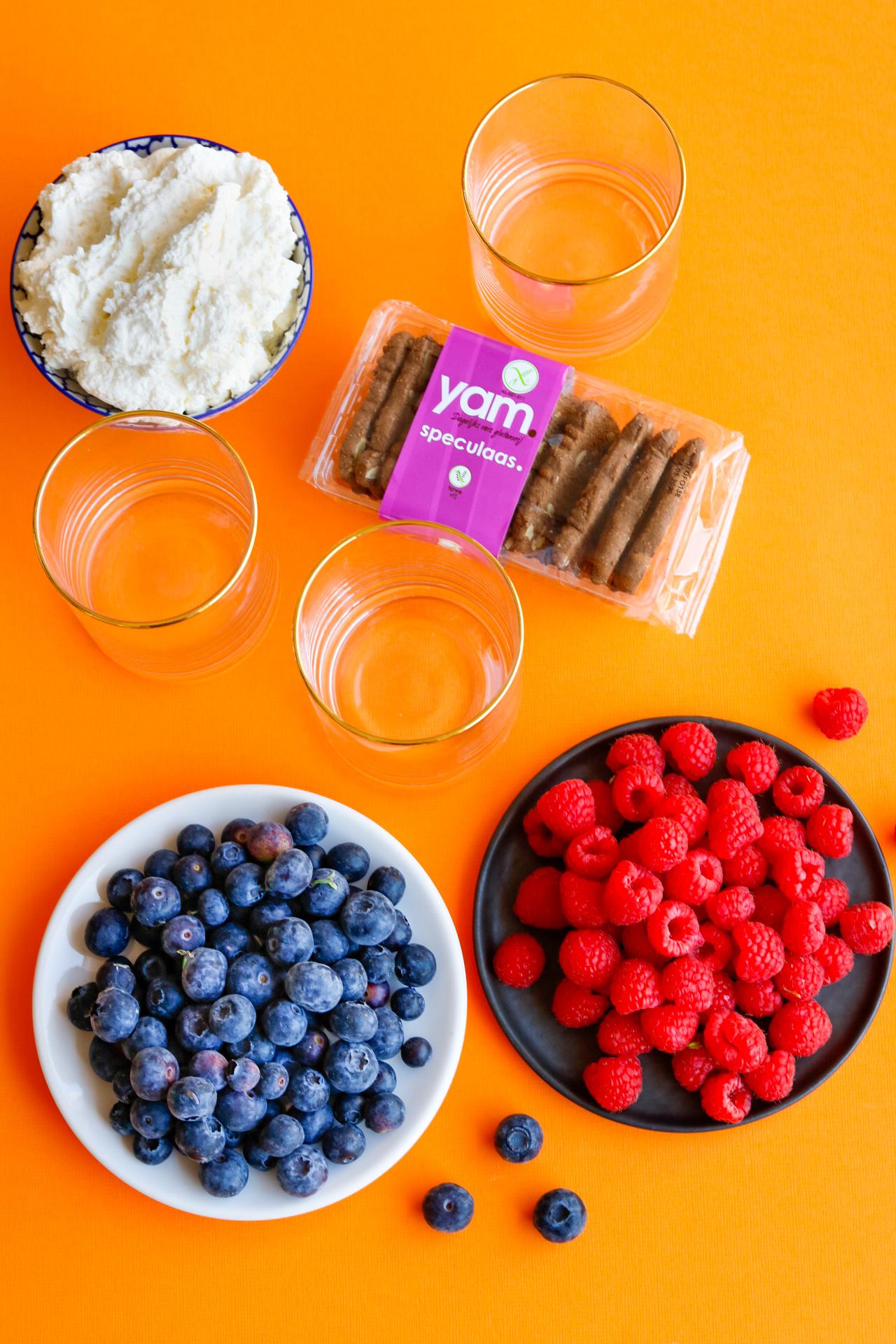 Glutenvrij toetje rood-wit-blauw